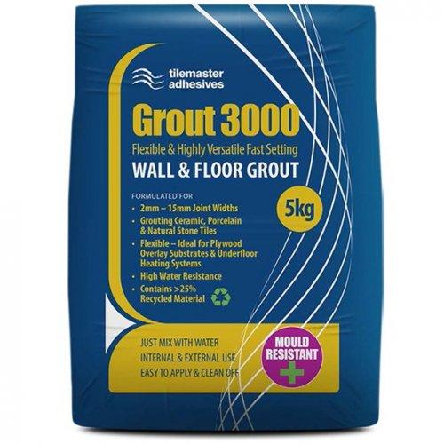 Tilemaster Grout 3000 je výběrová, velmi všestranná, flexibilní a rychletuhnoucí spárovací hmota na obklady a dlažby